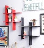Decorhand Black & Red Wood & MDF Wall Shelves - Set of 2