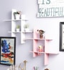 Decorhand White & Pink Wood & MDF Wall Shelves - Set of 2