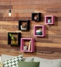 AYMH Black & Pink MDF Square Shelf - Set of 6