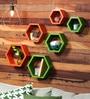 DecorNation Green & Orange MDF Hexagon Wall Shelf - Set of 6