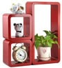 AYMH Red MDF Modern Cube Rectangle Wall Shelf - Set of 3
