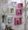 White & Pink MDF Nesting Square Wall Shelves - Set of 6 by AYMH