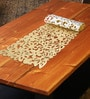 Decotrend Floral Golden Synthetic PU Table Runner