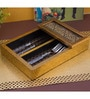 Decotrend Ornate Black & Gold Synthetic Wood Cutlery Holder
