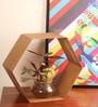 Designmint Golden Metal Hexagonal Space Saver Showpiece