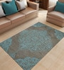 Blue & Grey Fine Indian Blended Wool 96 x 60 Inch Hand Tuft Floor Covering Kirman Design Carpet by Designs View