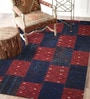 Designs View Blue & Red Turkish Imported Wool 91 x 63 Inch Antique Hand Made Turkish Over Dyed Patch Work Kilims Carpet