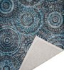 Blue Fine Indian Blended Wool 90 x 63 Inch Hand Tufted Floor Covering Spiral Design Carpet by Designs View