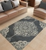 Designs View Ivory & Grey Fine Indian Blended Wool 96 x 60 Inch Hand Tuft Floor Covering Kirman Design Carpet