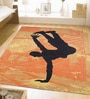 Orange Wool 96 x 60 Inch Hand Tufted Man in Black Area Rug by Designs View