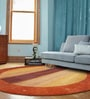 Red & Gold Wool 96 x 96 Inch Hand Knotted Modern Stripe Design Round Area Rug by Designs View