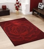 Designs View Red Wool & Cotton 66 x 96 Inch Hand Tufted Rose Carpet