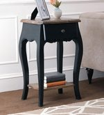 Dinan End Table in Black & Natural Finish