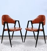 Dining Chair (Set of 2) in Glossy Brown Colour