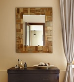 Brown Teak Wood Zen Mirror