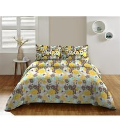 Dicitex Floral Multicolour 100% Cotton King Bed Sheet (with Pillow Covers) - Set Of 3 - 1392300