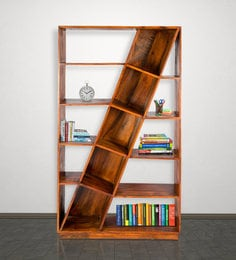 Display Unit Cum Book Shelf In Golden Oak Finish By Wooden Emporium