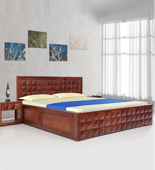 Buy Diamond New Solid Wood Queen Size Bed With Hydraulic Storage In ...