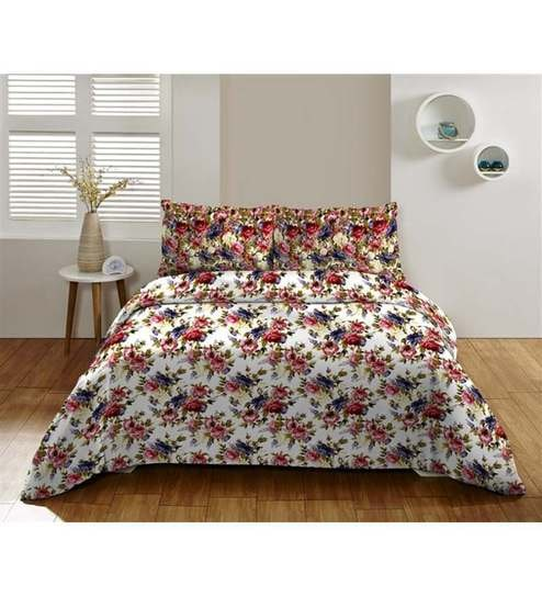 Superb Floral Multicolour 100% Cotton Single Bed Sheet With Pillow Covers   Set Of  2 By