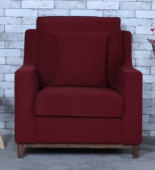 Go One Seater Sofa In Garnet Red Colour By Casacraft