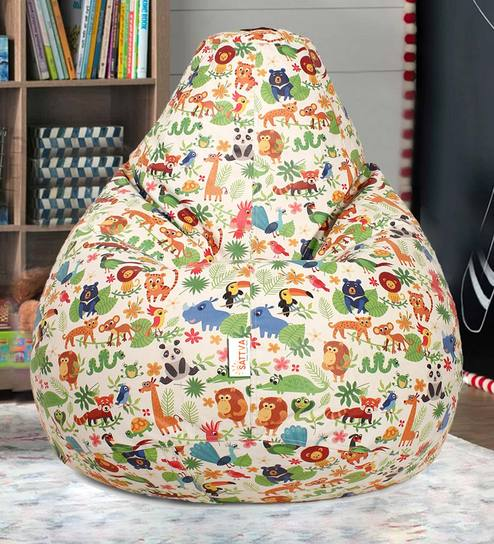 Amazing Digital Animal Printed Kids Xl Bean Bag Filled With Bean By Sattva Theyellowbook Wood Chair Design Ideas Theyellowbookinfo
