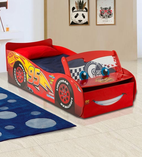 new product 5d52c 67653 Disney Cars Lightning McQueen Toddler Bed with lightup windscreen in Multi  Color by Cot & Candy