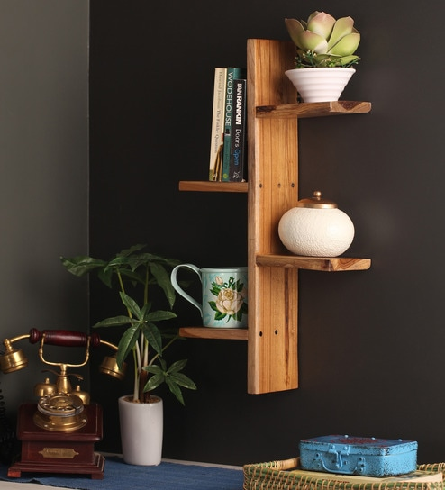 Solid Wood Hand Made 4 Tier Decorative Wall Shelf In Brown Finish By Divine Decor