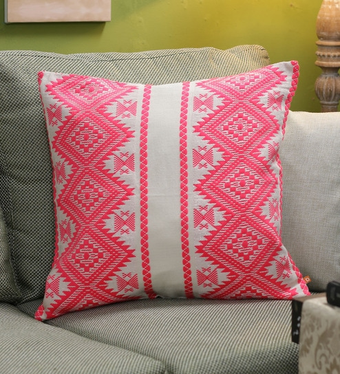 Buy Neon Pink Cotton 40 X 40 Inch Pillow Me Cushion Cover By Diwa Magnificent 20 X 20 Inch Pillow Covers
