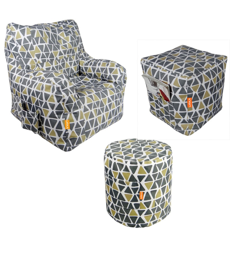 Buy Digital Printed Arm Chair Xxxl Amp Puffy Combo With