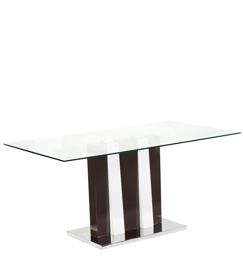 Alpha Six Seater Dining Table with Glass Top by Parin