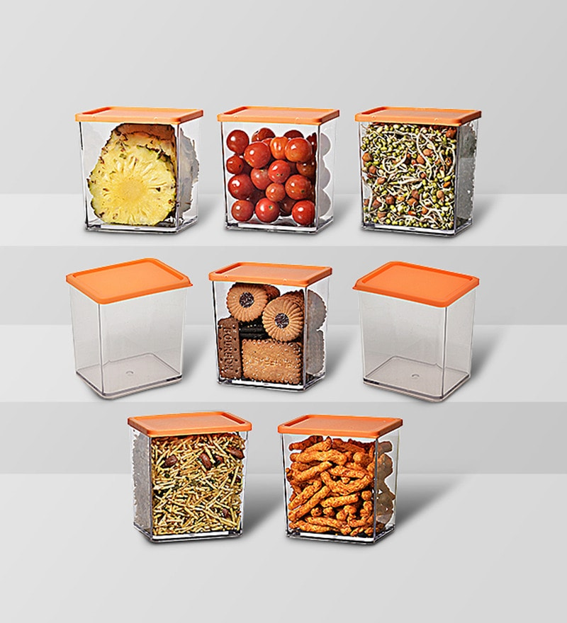 Disha Orange 600 ML (Each) Storage Container - Set of 8