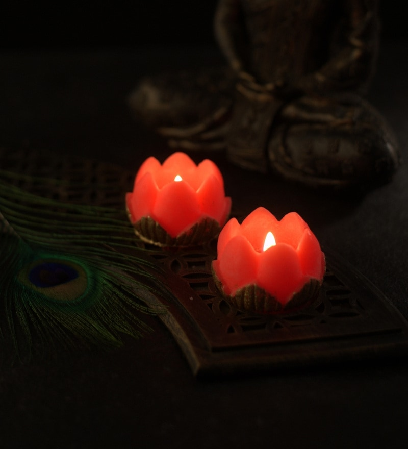 Diwali Gift Pink & Orange Assorted Lotus Candle by Orlando's Decor