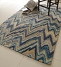 Blue Polyester 90 x 60 Inch Surge Area Rug by Divine