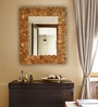 Brown Teak Wood Enigma Mirror by Divine Decor