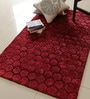 Red Polyester 60 x 35 Inch Concave Area Rug by Divine