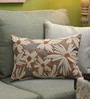 Grey Cotton 20 x 14 Inch Floral Cushion Cover by Diwa Home