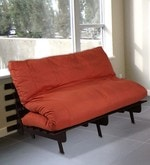 Double Futon Sofa Cum Bed with Mattress in Orange