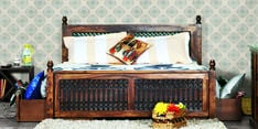 Douglas Queen Size Bed with Storage in Provincial Teak Finish