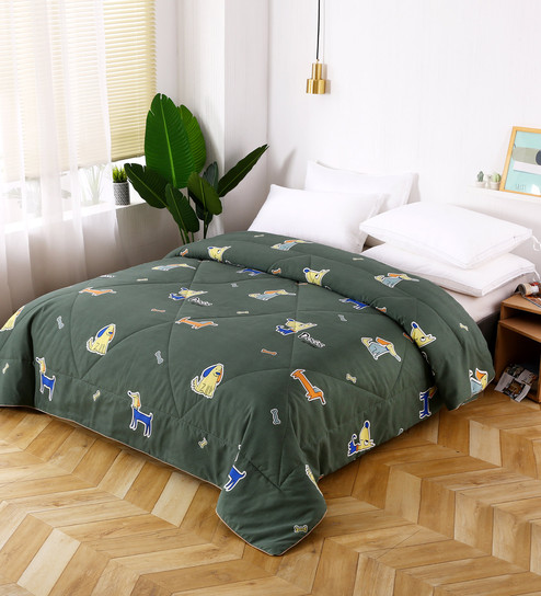 Kids Double Blanket In Green Colour