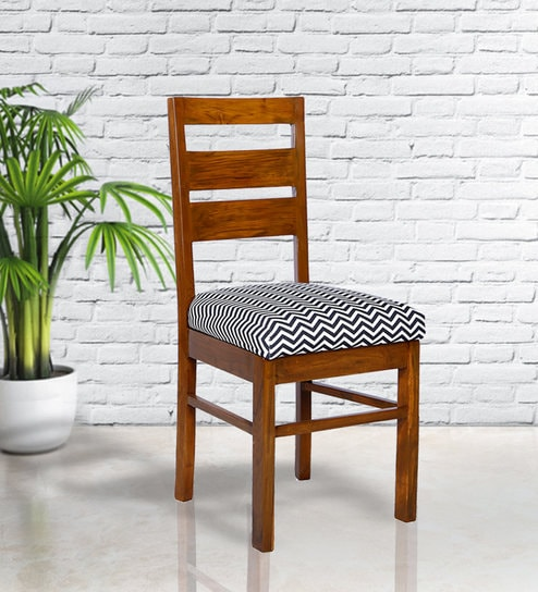 Pleasant Domum Ladder Back Dining Chair In Monochrome Chevron Print By Russet Ibusinesslaw Wood Chair Design Ideas Ibusinesslaworg