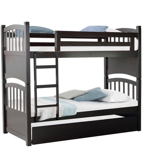 McLamar Kids Bunk Bed With Trundle In Cappuccino Finish By Mollycoddle