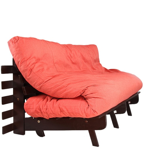 Double Futon Sofa Cum Bed With Mattress In Red Color By Arra