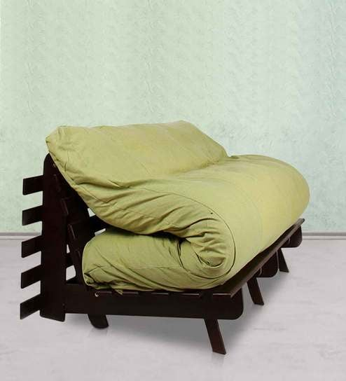 Double Futon Sofa Bed With Mattress In Green By Arra