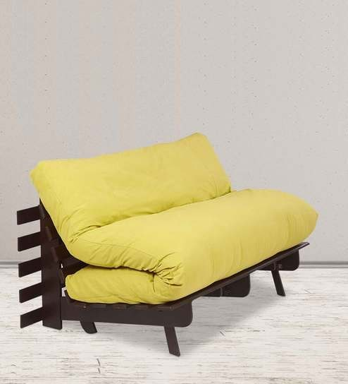 Double Futon Sofa Cum Bed With Mattress In Lemon Yellow Colour By ARRA