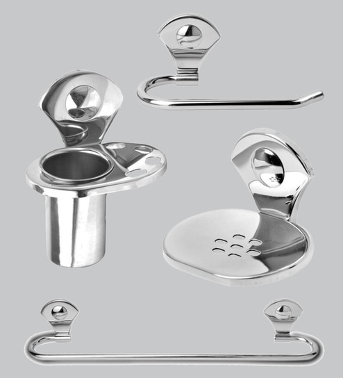 Doyours Glossy Stainless Steel 4-piece Bathroom Accessories Set