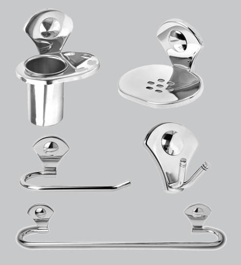 Buy Doyours Glossy Stainless Steel 5 Piece Bathroom Accessories Set