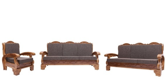 Downing Teak Wood Sofa Set 3 1 1 Seater In Natural Teak Finish By Finesse