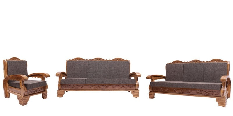 Buy downing teak wood sofa set 3 1 1 seater in for 9 seater sofa set designs