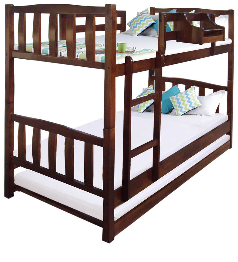 Buy Mclogan Kids Bunk Bed With Trundle In Walnut Finish By
