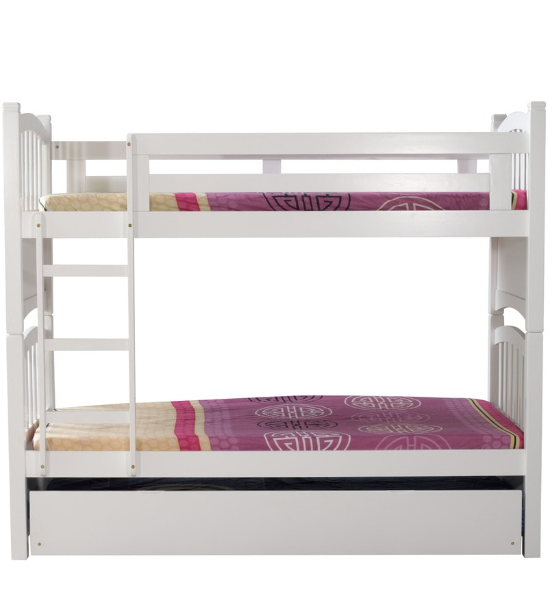 Pull Out Bunk Bed Couch Buy Mclamar Kids Bunk Bed With Pull Out In White  Finish